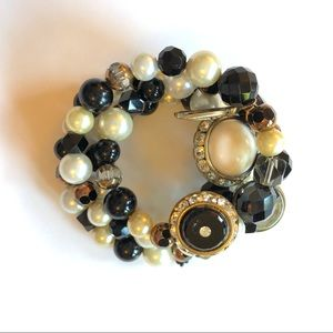 Vintage Wrap Around Bracelet With Buttons Charms